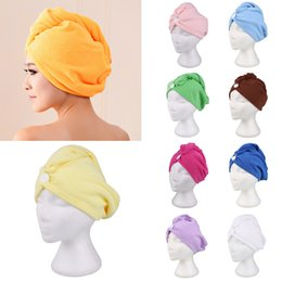 $enCountryForm.capitalKeyWord Australia - Absorbent Quick Dry Hair Towel Microfiber Fabric Magic Towels Women Girls Ladies Cap Bathing Turban Head Wrap Hat 10 Colors