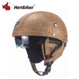$enCountryForm.capitalKeyWord Australia - New Retro Vintage Motorcycle Helmet Cruiser Scooter Bike Touring Chopper Half Helmet Synthetic Leather Moto