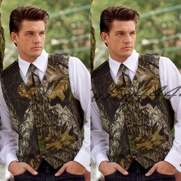thin trunks UK - 2019 Customize New Handsome Airtailors Camo Wedding Vests Groom Vest Tree Trunk Leaves Camouflage Slim Fit Mens Vests 2 piece set (Vest+Tie)