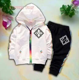 $enCountryForm.capitalKeyWord Australia - BOY Kids Cardigan Coats And Pants 2Pcs sets 1-4T Children Sports Sets Rainbow Zipper Long Sleeve Colorful Striped Eagle Printing Summer Suit