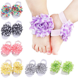 Girl Feet Shoes NZ - Baby Sandals Flower Shoes Barefoot Foot Flower Ties Infant Girl Kids First Walker Shoes Wave Folds Chiffon Flower baby girl shoes