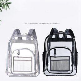 clear pvc backpacks NZ - Outdoor PVC Clear Backpack Wholesale Blanks Large Capacity Waterproof Student's School Bag Kid's Beach Backpack MMA2488