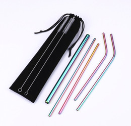 velvet brush Australia - Reusable Metal Straw Set Stainless Steel Straw Set With Cleaning Brush Linen or Velvet Bag Packing Free Combination