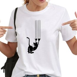 $enCountryForm.capitalKeyWord Australia - Women Funny Cat Graphic Tees T Shirts Summer White Casual Short Sleeve Tee Female Kawaii Cat Paw Tshirts O-neck Tops