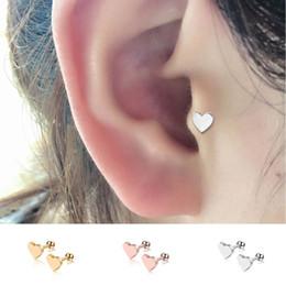 4f9e18719 1Pair Women Punk Ear Labrets Lip Body Cartilage Helix Heart Barbell Bar Earrings  Surgical Steel Stud Earrings Piercing Jewelry