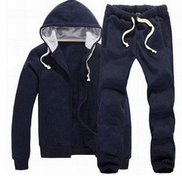 Polo Sportswear Australia - Cheap Winter Men Polo Tracksuits Horse Print Solid Jumpersuit Jogging Sportswear Running Hooded Hoodies Jacket Sweatpants Sweatshirts