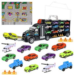 Car Helicopter Toy Australia - 16pcs set Transport Car Carrier Truck Boys Toy (include Alloy 10 Cars &2 Helicopters &2 Roadblocks & City Map ) For Kid Children J190525