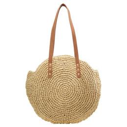 Multi Color Hand Bag UK - good quality Bali Island Straw Bag Hand Woven Bag Round Women Bohemia Beach Circle Bags High Capacity Shoulder Knitting Bag Phone Pocket