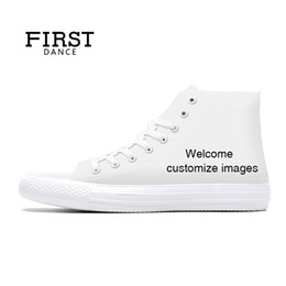 Discount top dance shoes - First Dance For Unisex High Top Canvas Casual Custom Printed Youth Solid Color Dropshipping White Shoes MX190729