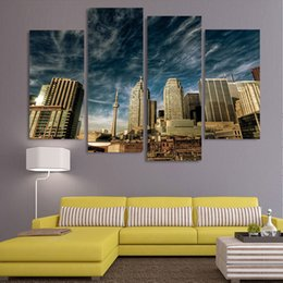 $enCountryForm.capitalKeyWord Australia - Print Wall Art Pictures For Living Room Modern 4 Piece Toronto Morning Cloudy Landscape Painting Canvas Modular Home Decor HD Frame