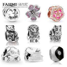 sterling silver turtle jewelry Australia - FAHMI 100%925 Sterling Silver New 1:1 Doctor Hat Books Turtle Schnauzer Puppy Hedgehog Teddy Bear Hollow Four-leaf Clover Long Peach Jewelry