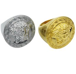 Big gold plated rings online shopping - High Quality Men s Big Brand Versac Medusa Hip Hop mm Big Ring Fashion Electroplated Silver Gold Ring Jewelry Gift
