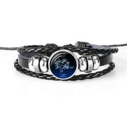 cabochon zodiac UK - Fashion 12 Constellations Zodiac Leo Time Gem Glass Cabochon Jewelry Leather Rope Beaded Women Men Casual Personality Vintage Punk Bracelets