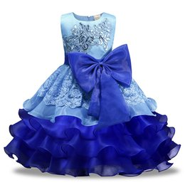 Formal Military Ball Gowns Australia - Retail Baby girls lace sequin Embroidered ball gown wedding dress with big bow kids pleated princess dress skirt childrens boutique clothing