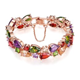acrylic crystal flower 2020 - Fashion Design Elements Crystal Bracelet Rose Gold Plated Multicolor Flower Cubic Zirconia Jewelry Wedding Party Evening