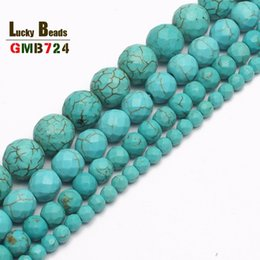 $enCountryForm.capitalKeyWord NZ - round beads wholesale Faceted Blue Turquoises Round Beads For Jewelry Making 15.5inch strand 4 6 8 10 12 14mm pick Size-F00042