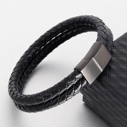 Discount custom leather wrap bracelets - Double Leather Rope Bracelet Black Brown Woven Leather Bracelet Jewelry Wrap Muti Layer Custom Magnet Clasp