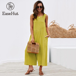 womens sleeveless rompers Australia - EaseHut Solid Sleeveless Back Hollow Out Overalls Jumpsuit for Women Side Pockets High Waist Wide Leg Rompers Womens Jumpsuit
