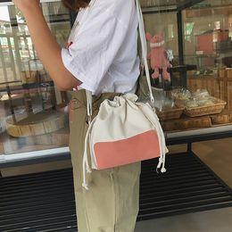 $enCountryForm.capitalKeyWord Australia - Canvas Drawstring Bucket Bag Women Cross Body Bag Fashion women's shoulder cute canvas messenger bucket bags handbags #15
