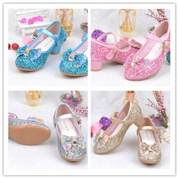Wholesale Canvas High Shoes Australia - Ins Children Princess Wedding Glitter Bowknot Crystal Shoes High Heels Dress Shoes Kids Spring Autumn Sandals Girls Party Shoes A42506