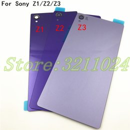Xperia Z1 Housing NZ - New Rear Door Battery Back Housing Glass Replacement Cover Case For Sony Xperia Z1 Z2 Z3 With