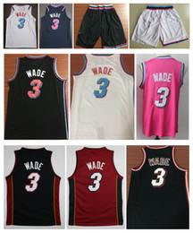 Atacado 2019 Homens Cidade 3 # Dwyane Wade jersey Costurado Whiteside basquete jerseys Branco Preto Vermelho Bordado Wade camisa Frete Grátis