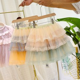 $enCountryForm.capitalKeyWord Australia - Fall new Children lace tulle tutu skirt girls tiered lace gauze embroidery falbala princess dress kids contrast color lace cake skirt F9185