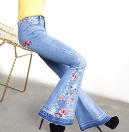 $enCountryForm.capitalKeyWord NZ - Women Jeans 2018 Spring Autumn Elegant Embroidery Bell Bottom Jeans Light Blue Elastic Casual Cotton Ladies Wide Leg Pants 3XL