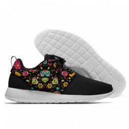 $enCountryForm.capitalKeyWord NZ - Woman Man Trendy Sugar Skulls 3d Print Flats Shoes Casual Lightweight Lacing Shoes Comfortable Flats Shoes