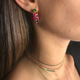 $enCountryForm.capitalKeyWord Australia - Gold Filled Classic Baguette Hoop Earring Mix Color Rainbow Cz Crystal Statement Jewelry For Women Girls Elegance Dainty Earring J190628