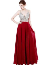 China Luxurious V Neck A Line Chiffon Evening Dress Elegant Beaded Crystals Backless Beautiful Dresses Sexy Evening Formal Gowns supplier beautiful elegant evening gowns suppliers