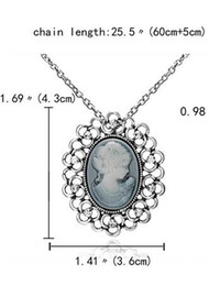 white gold cameo 2021 - Rinhoo Necklaces & Pendants Jewelry For Women Vintage Cameo Queen Flower Beauty Head Crystal Pendant Necklace Sweater Long Chain