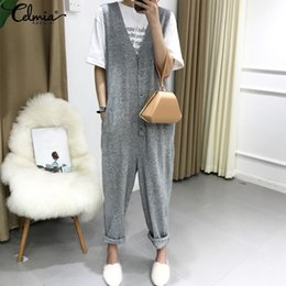 $enCountryForm.capitalKeyWord Australia - 2019 Celmia Rompers Women Jumpsuit Retro Deep V-neck Sleeveless Buttons Harem Pants Casual Knitted Playsuits Plus Size Overalls Y19060501