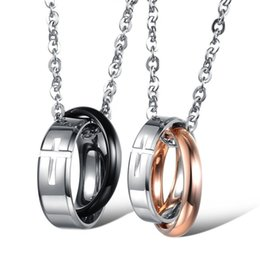 $enCountryForm.capitalKeyWord Australia - Cross Double Rings Love Each Other Couple Pendant Necklaces Stainless Steel Romantic Sweet Designer For Women Men Punk Fine Necklaces Gifts
