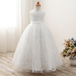 Kids white evening dresses online shopping - Kids Girls Embroidered Lace Flower Tulle ball gowns Wedding Evening Dress Children Summer Sleeveless Party Prom Princess Dresses Clothes
