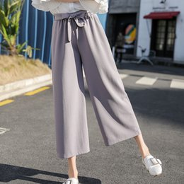 loose trousers chiffon women Australia - 2019 Women Chiffon High Waist Wide Leg Pants Bow Tie Drawstring Sweet Elastic Waist Loose Ankle-length Pants Trousers Pantalones Y19051701