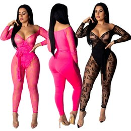 wholesale pink sashes Australia - Sell well Women's Jumpsuits & Rompers sexy Sashes Sheer Long Sleeve Deep-V Bodycon leggings pants Full Length Plus Size Summer Clothing 197