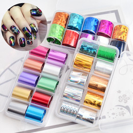 $enCountryForm.capitalKeyWord Australia - 10 rolls box 2.5*100cm Holographic Transfer Foil Sticker Nail Art Decorations Mixed Decal Wraps UV Gel Design Manicure Accessory