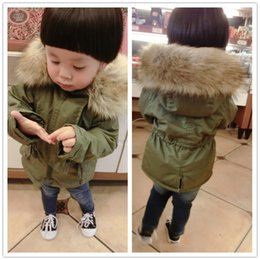 Army green militAry style jAcket online shopping - Retail Fashion Kids winter fur collar thicken hooded jacket down jacket warm thicken fur snow coat ourwear coats kids designer clothing