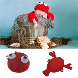 Crochet Babies Props NZ - Crochet Baby Unisex Lobster Hat and Cape Set Cute Newborn Boy Girls Photo Photography Props Knitted Infant Baby Hats Beanie