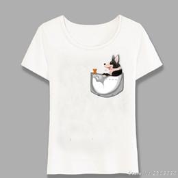 Tops Girl Shirt Design Australia - Novelty Black Pocket Corgi T-Shirt Summer Women T Shirt Funny Harajuku Design Casual Ladies Tops Hipster Girl Cute Tees Harajuku