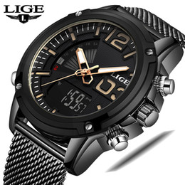$enCountryForm.capitalKeyWord Australia - LIGE Mens Watches Top Men Sports Watches Men's Analog Quartz LED Digital Clock Male Full Steel Wrist Watch