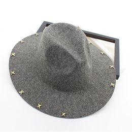 d81dad2c370178 Brown Trilby Hat UK - Wide Brim Wool Felt Fedora Jazz Hats Rivets Decor  Women Men