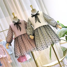 $enCountryForm.capitalKeyWord Australia - 2019 Fall new kids princess outfits Girls lace-up Bows tie polka dots lace tulle dress+knitted sweater vest waistcoat outwear 2pcs sets F952
