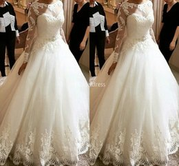 Castle models online shopping - 2019 Charming Lace Wedding Dresses Jewel Neck Appliques Illusion Long Sleeves Sweep Train Church Bridal Gown Chapel Castle Vestidoe De Noiva