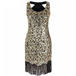 $enCountryForm.capitalKeyWord Australia - Women's 1920s Sequin Paisley Pattern Sleeveless Racer Back Flapper Black Gold Dress Sexy Fringe Great Gatsby Party Dress