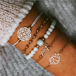 white gold disc charm Australia - Bracelets set bead chain bead strands bead chain hollow-out flower Disc charm Gold plated metal chain rope