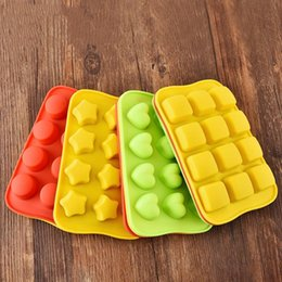 heart shaped silicone cake moulds Australia - 12 Grid Silicone Chocolate Mold Tray Creative Star Heart Round Square Shaped Ice Cube Cake decoration Mold
