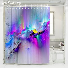 3d bathroom shower curtains NZ - Psychedelic Ombre Nebula Shower Curtain Landscape 3D Printing Waterproof Polyester for Bath Shower Curtain Bathroom Boho Decor Y200108