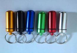 Pill Box Keychain Waterproof Australia - DHL Travel aluminum alloy Waterproof Pill Box Case keyring Key Chain Medicine Storage Organizer Bottle Holder Container KeyChain 15x48mm
